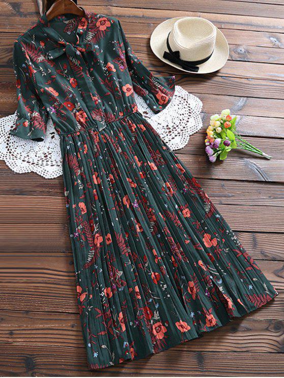 Vestido Camisero Plisado Floral con Nudo de Lazo - Verde negruzco S