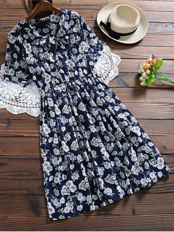 latest Bow Tie Floral Holiday Dress - CADETBLUE XL