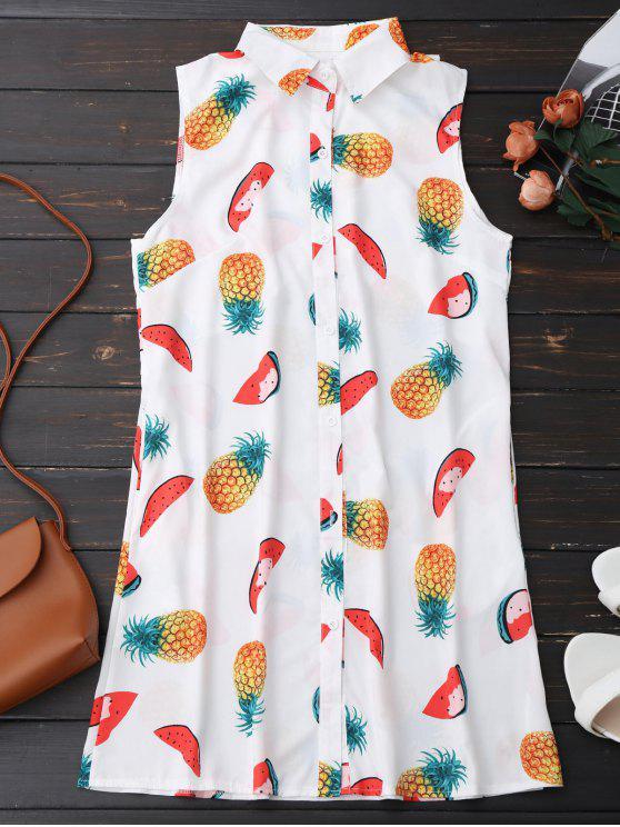 Sleeveless Pineapple Watermelon Shirt Dress - White M
