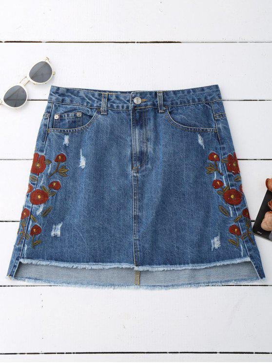 hot Floral Embroidered Frayed Hem Denim Skirt - DENIM BLUE S