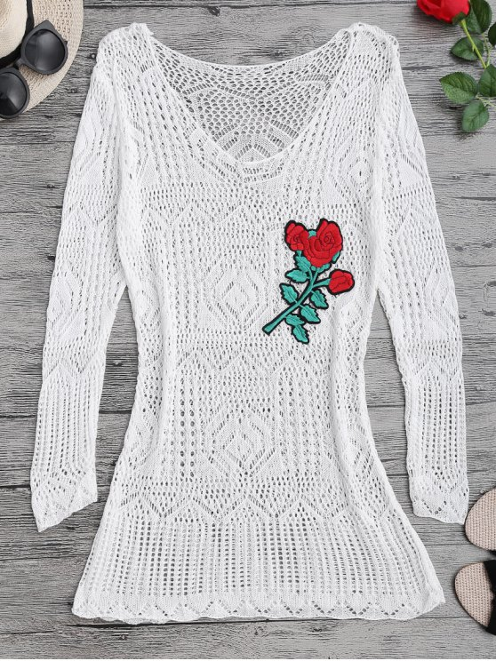 latest Long Sleeves Open Stitch Beach Cover Up Dress - WHITE ONE SIZE