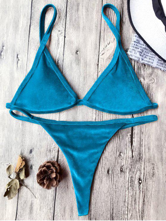 Traje de Bikini con Thong de Tirant Fino de Terciopelo con Cordón - Pavo Real Azul S