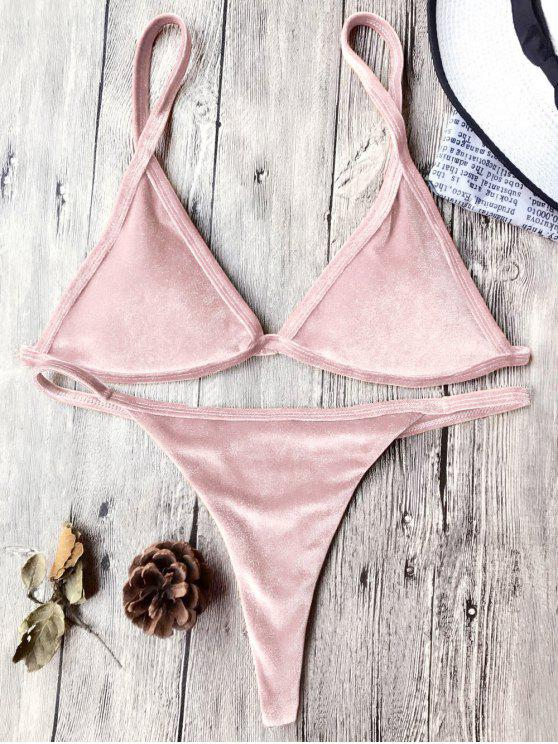 womens Cami Velvet String Thong Bikini Set - PINK S