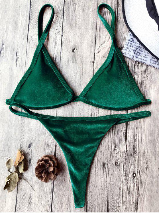 Traje de Bikini con Thong de Tirant Fino de Terciopelo con Cordón - Verde Oscuro M