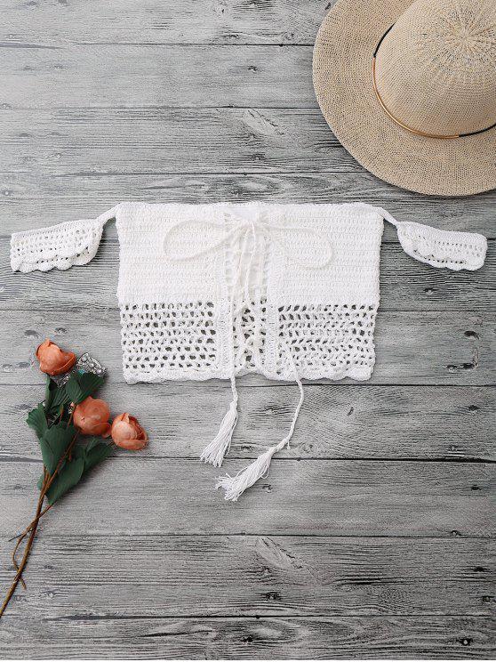 womens Knitted Off The Shoulder Bikini Bra - WHITE ONE SIZE