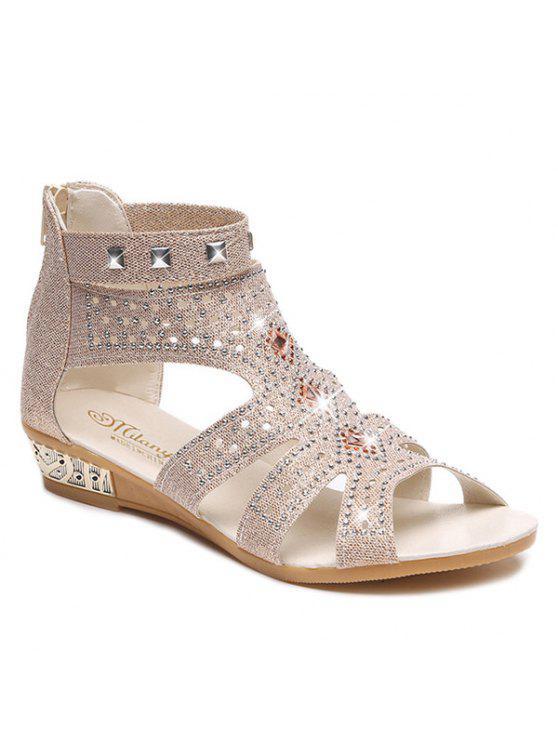 Sandalen mit Strass ,Nieten und Reißverschluss - Aprikose 38