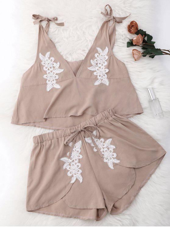 lady Drawstring Lace Applique Loungewear Suit - NUDE L