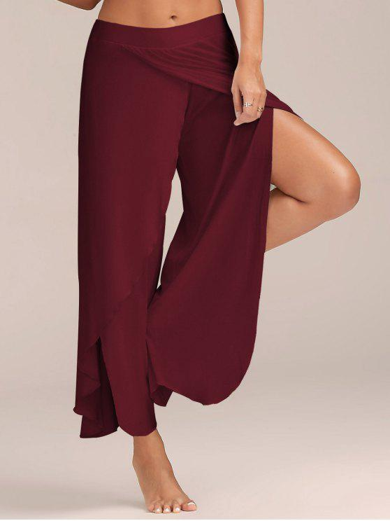 outfit High Slit Flowy Layered Palazzo Pants - WINE RED 2XL