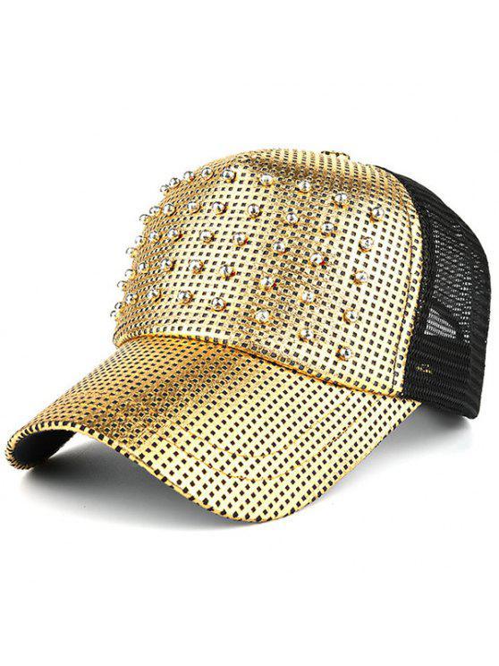 في الهواء الطلق برشام شبكة قبعة بيسبول - ذهبي