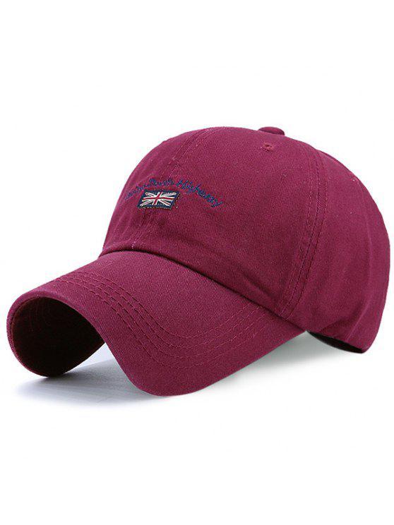 رسالة العلم المطرزة قبعة بيسبول - نبيذ أحمر
