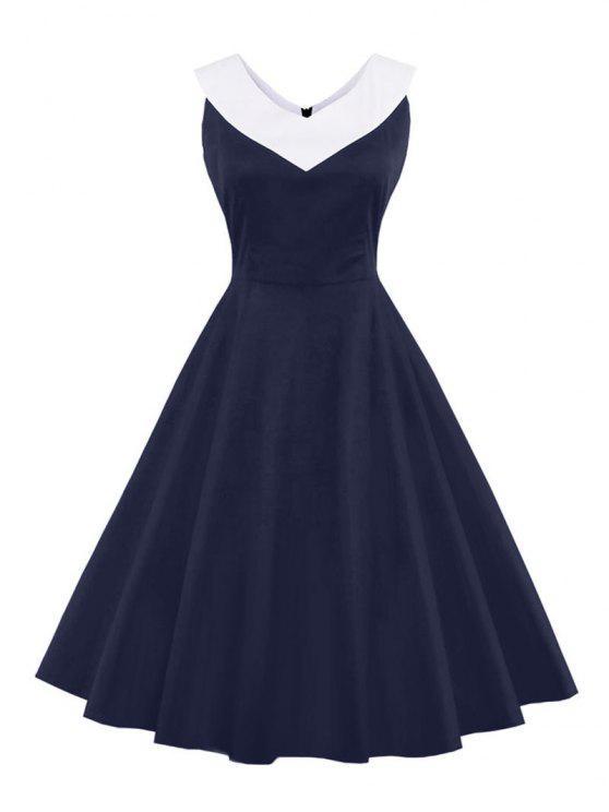 V-Ausschnitt Vintage lässiges Kleid - Schwarzblau S