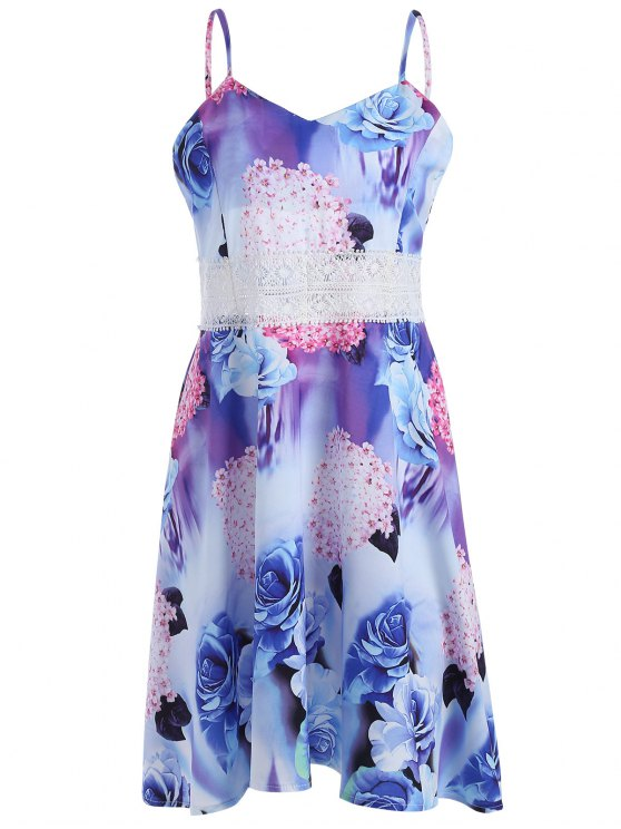 فستان الصيف دانتيل طباعة الأزهار عارية الظهر - Colormix XL