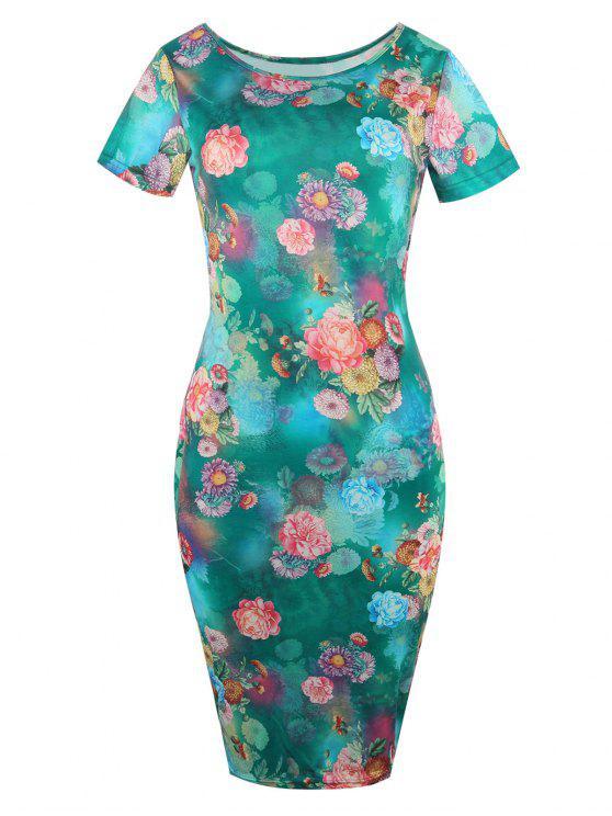 Vestido corto floral de manga corta - GREEN M