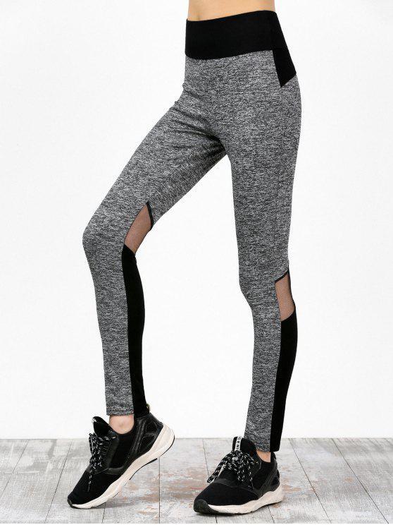 Bloque de color de malla de color High Waisted Sweatpants - Negro y Gris L
