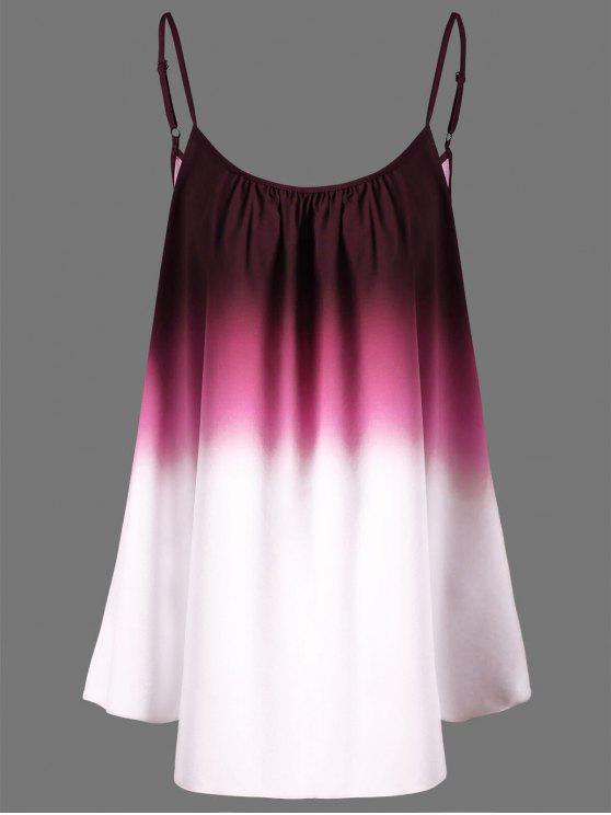 Top Cami Plus Size Di Ombre - Rosso 4XL