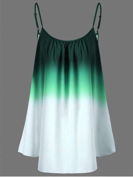 Top Cami Plus Size Di Ombre - verde 5XL