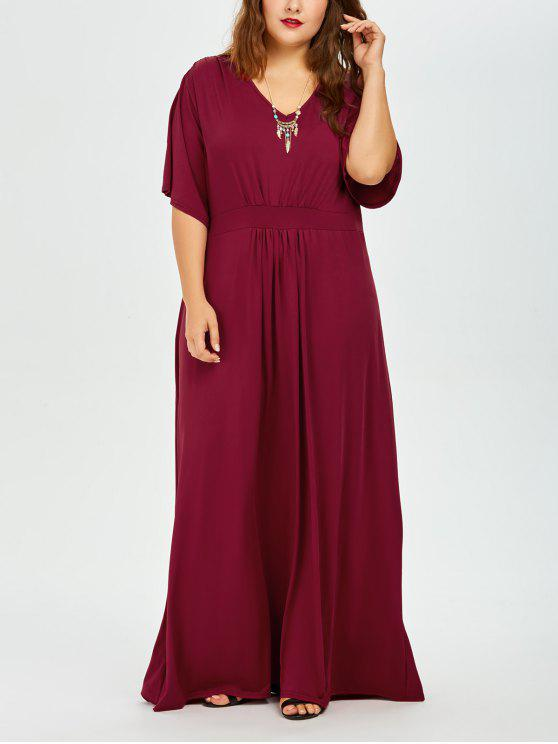 2018 Plus Size Dolman Sleeve Maxi Evening Dress In Deep Red 3xl Zaful