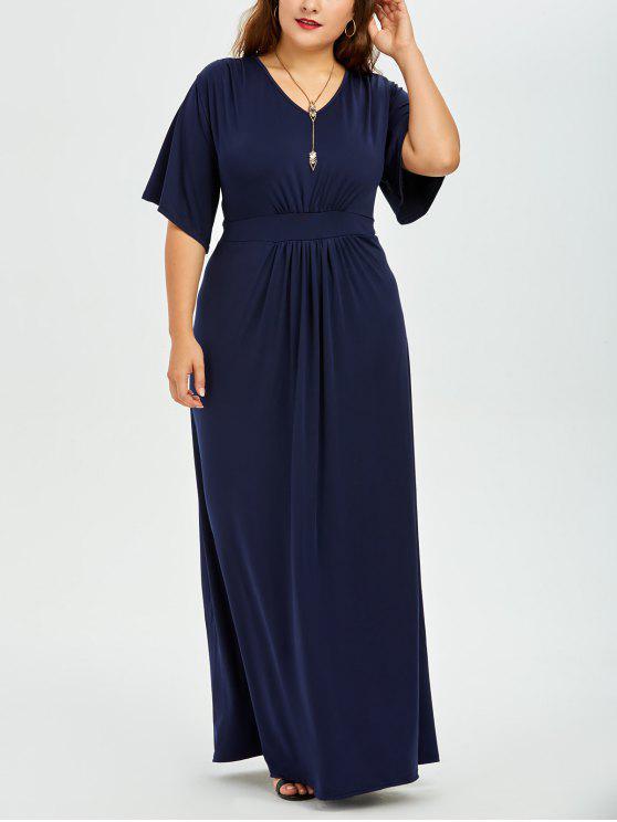 2018 Plus Size Dolman Sleeve Maxi Evening Dress In Purplish Blue 4xl