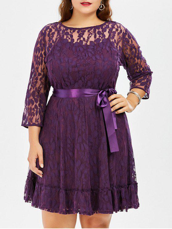 فستان الحجم الكبير دانتيل مع أكمام - أرجواني 8XL