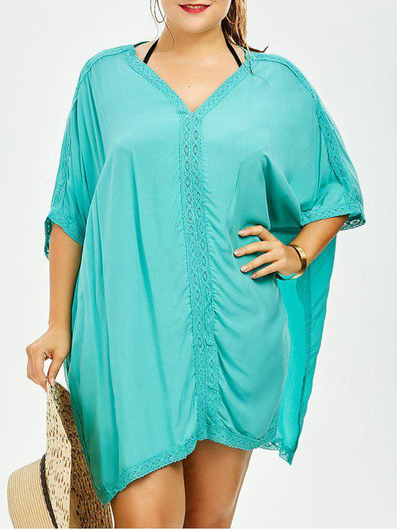 f2080be452cac 30% OFF  2019 V Neck Dolman Sleeve Plus Size Cover-Up In LIGHT GREEN ...