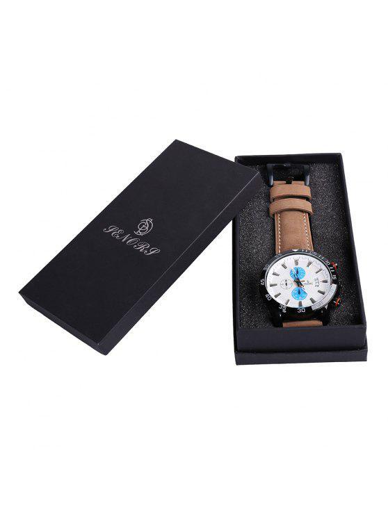 ساعة شريطها بجلد اصطناعي - أزرق