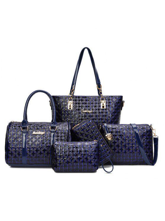 طقم حقيبة يد مزخرف من 5 قطع - أزرق