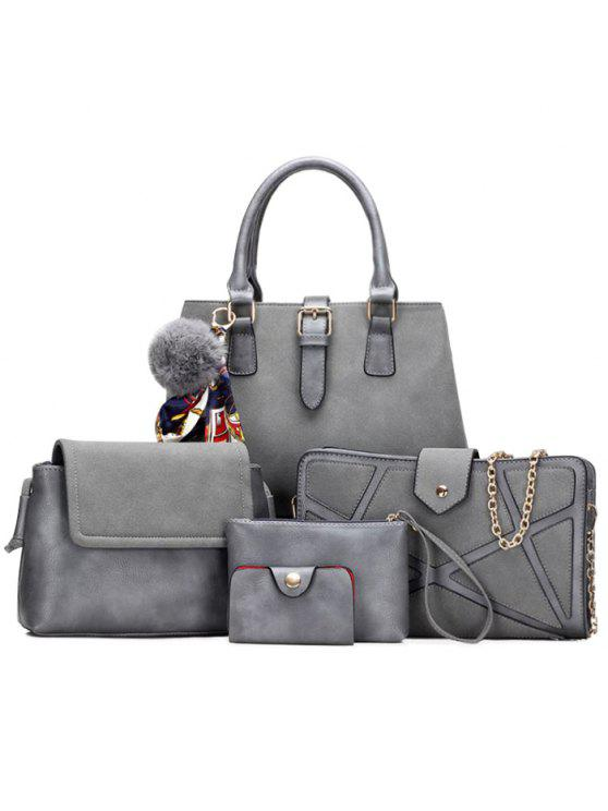 affordable Scarf Pompon Suede 5 Pieces Handbag Set - GRAY