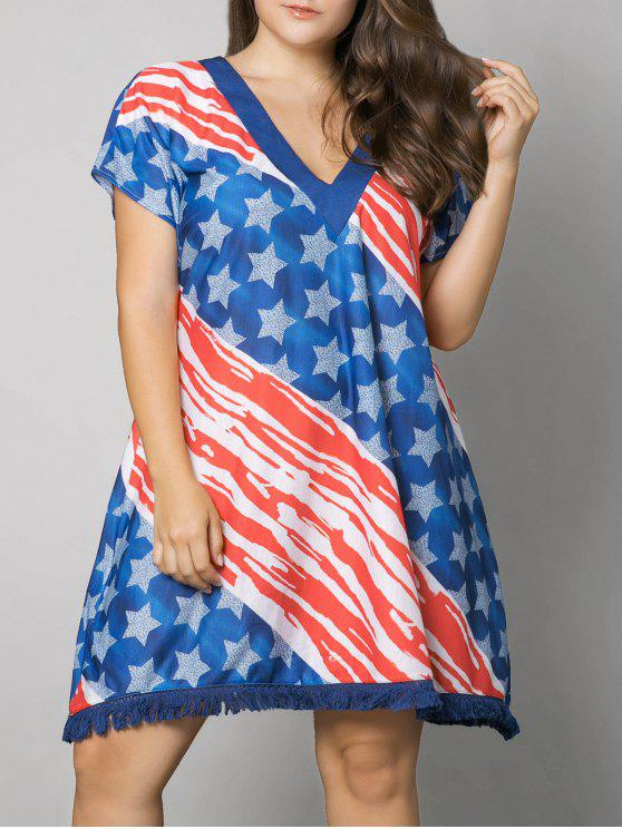 30% OFF] 2019 Tassel American Flag Print Plus Size Dress In US FLAG ...