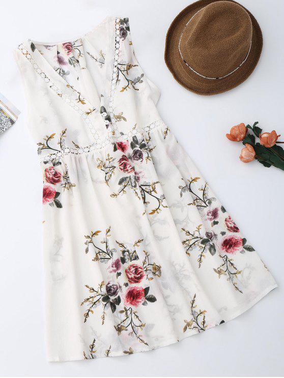 فستان طباعة الأزهار بلا أكمام - أبيض S