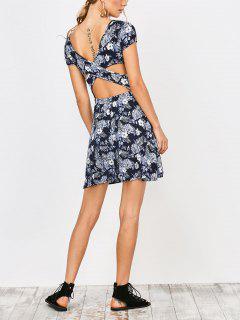 Criss Cross Cut Out A-Line Dress - Purplish Blue S
