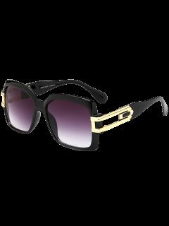 Oversize Hollow Cut Frame Gradient Lens Square Sunglasses - Photo Black