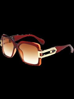 Oversize Hollow Cut Frame Gradient Lente Square Gafas De Sol - Té