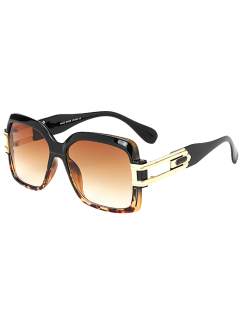 Oversize Hollow Cut Frame Gradient Lens Square Sunglasses - Leopard +gradual Drak Brown