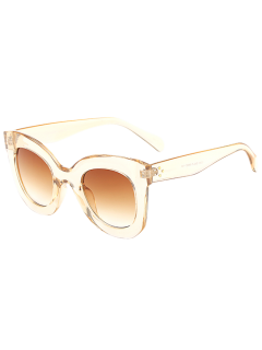 Outdoor Transparent Frame Gradient Lens Butterfly Sunglasses - Tea-colored