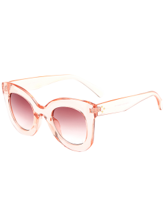 Outdoor Transparent Frame Gradient Lens Butterfly Sunglasses - Pink