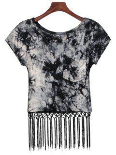 Tie Dye Pocket Fringed T-Shirt - Black Blue M