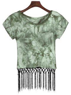 Tie Dye Pocket Fringed T-Shirt - Green S