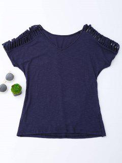V Neck T-Shirt With Ladder Details - Purplish Blue S