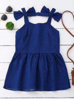 Bowknot Skirted Backless Denim Top - Blue M