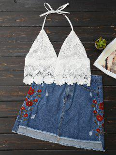 Lace Scalloped Crop Top - Weiß