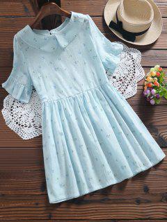 Robe Florale Plissée à Col Claudine - Bleu Clair 2xl