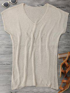Dolman Open Knit Beach Cover Up Dress - Khaki