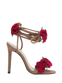 Rose Lace-Up Stiletto Sandales à Talons - Abricot 40