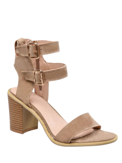Solid Color Double Buckles Chunky Heel Sandals - Apricot 37