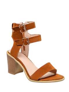 Solid Color Double Buckles Chunky Heel Sandals - Brown 38