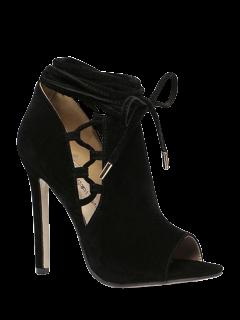 Ahueca Hacia Fuera Los Zapatos Del Dedo Del Pie Del Pío De Flock Negro - Negro 35