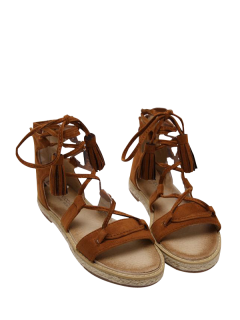 Tassels Lace Up Espadrilles Sandals - Brown 38