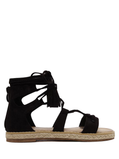 Tassels Lace Up Espadrilles Sandals - Black 38