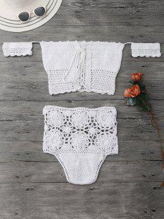 Off Shoulder High Waisted Crochet Bikini - White M