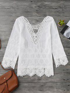 Crochet Flower Cutout Beach Cover Up Top - Blanc